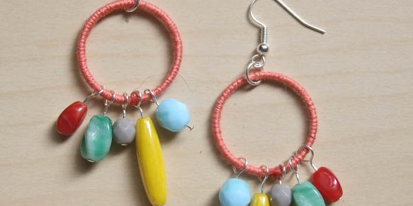 Colourful Thread and Bead Earrings DIY