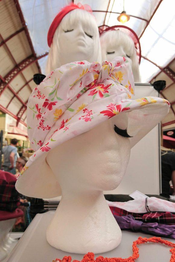 Handmade pink floral reversible summer hat by Suits u Hats at the Make & Mend Market in the Grainger Market.