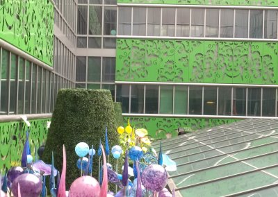 Photos of the completed rooftop garden at the centre.