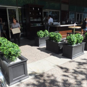 Custom UV boxwood plants create a warm and inviting front door at PJ Clarke's on the Hudson.