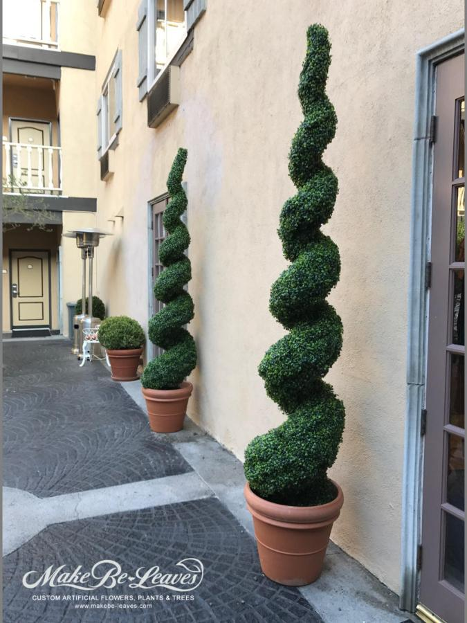 Artificial plants, UV exterior faux boxwood topiaries