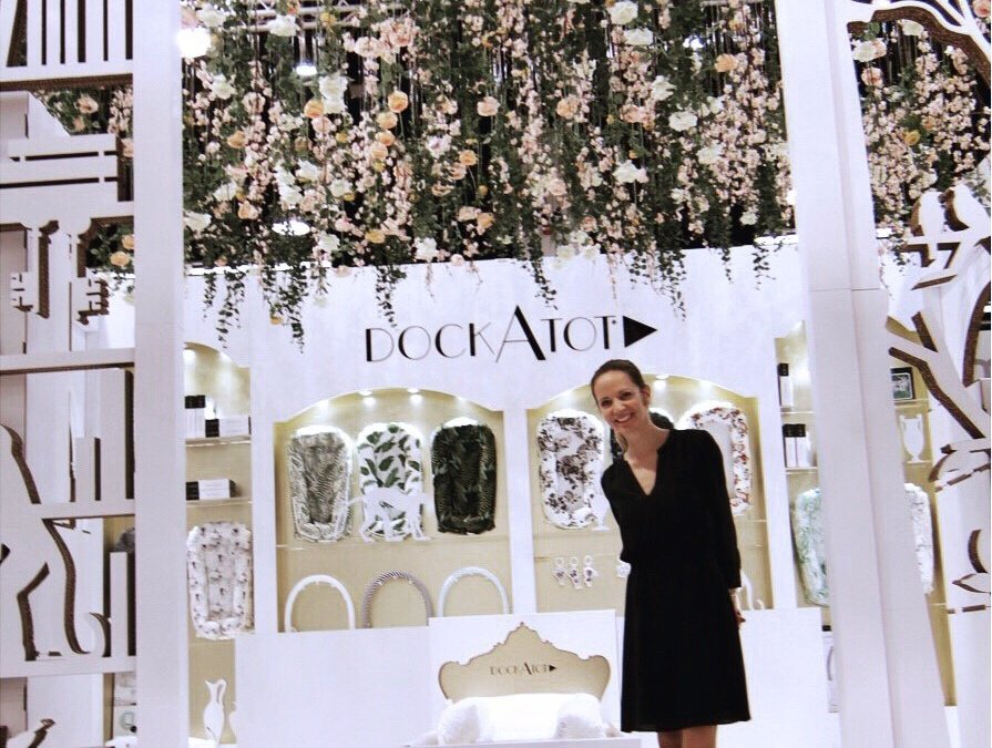 DockATot Trade Show Booth Design, Silk Floral Ceiling