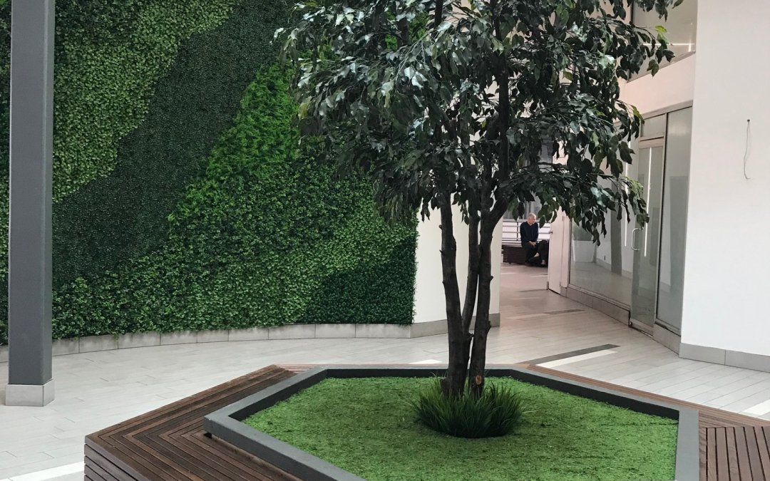 Contemporary Artificial Green Wall & Faux Tree Planting