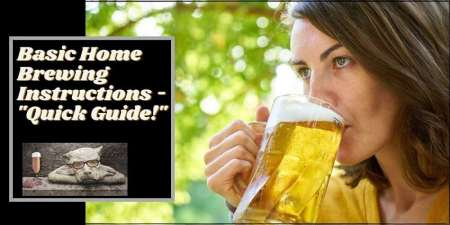 A woman drinking homebrew beer with the words home brewing instructions typed next to her