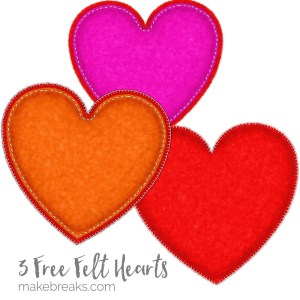 Three Free Felt Heart Embellishments