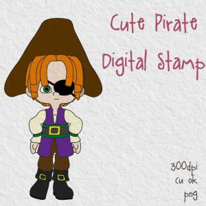 Cute Pirate Free Digital Stamp