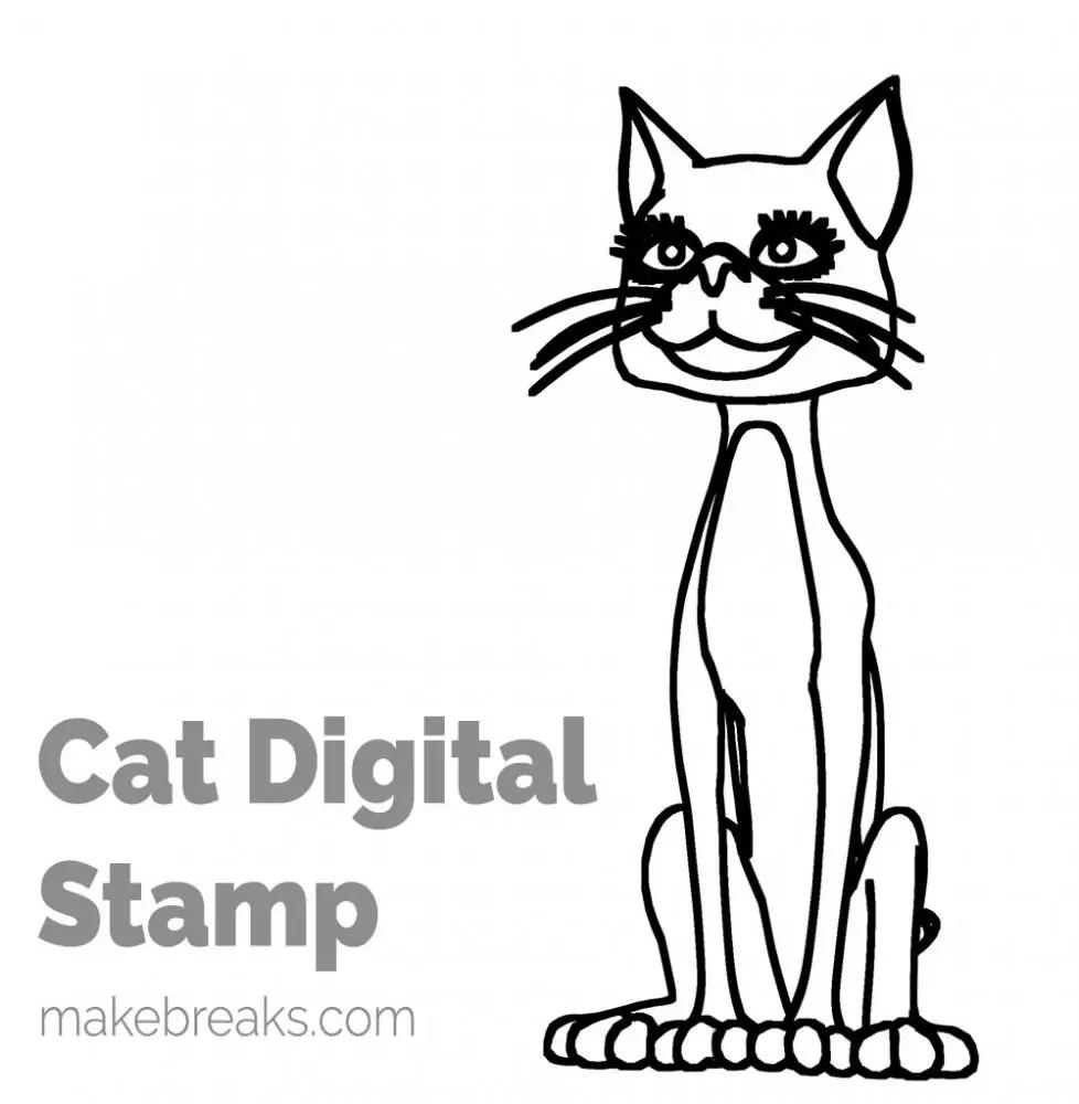 Cat Free Digital Stamp