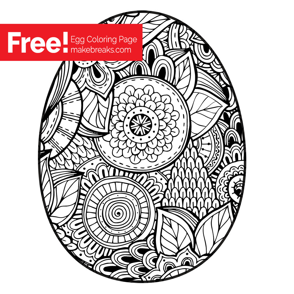 Free Easter Egg Coloring Page - Make Breaks