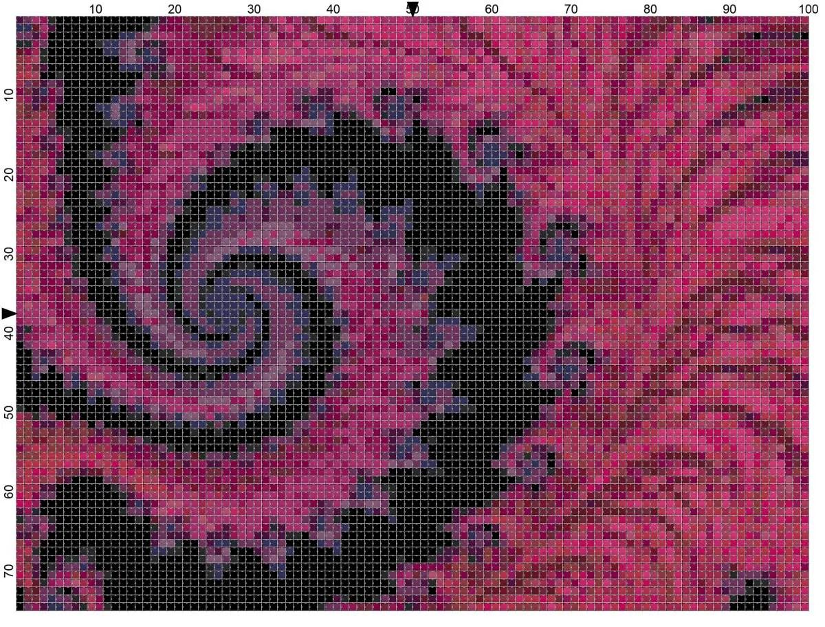 Free Fractal Cross Stitch Chart – Pink Pattern