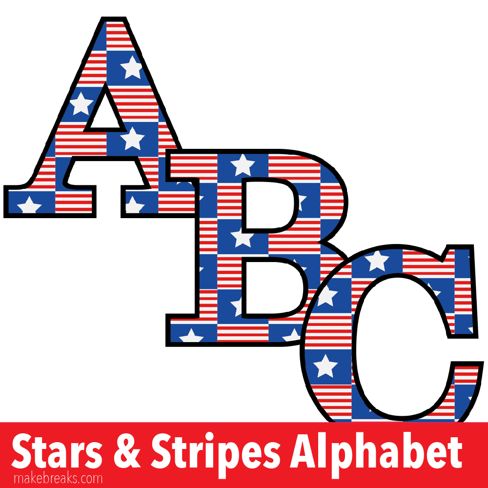 picture relating to Free Printable Clip Art Letters identify Superstars and Stripes No cost Printable Letters - Crank out Breaks