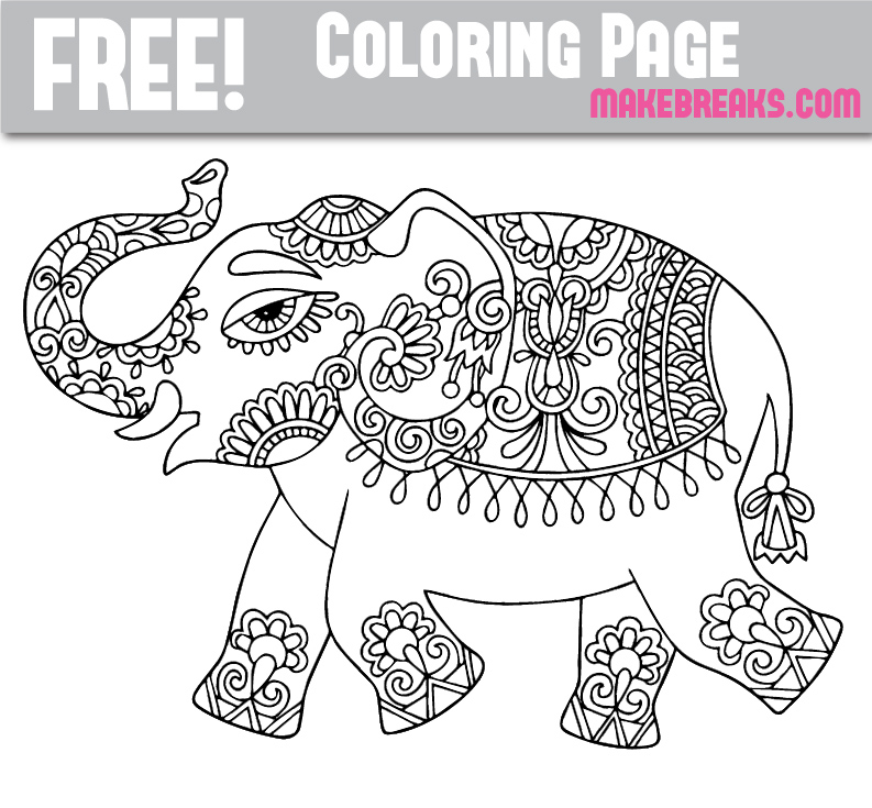 Free elephant coloring page