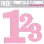 Free Pink Polka Dot Printable Numbers 0 – 9