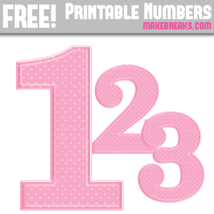 Free Pink Polka Dot Printable Numbers 0 – 9