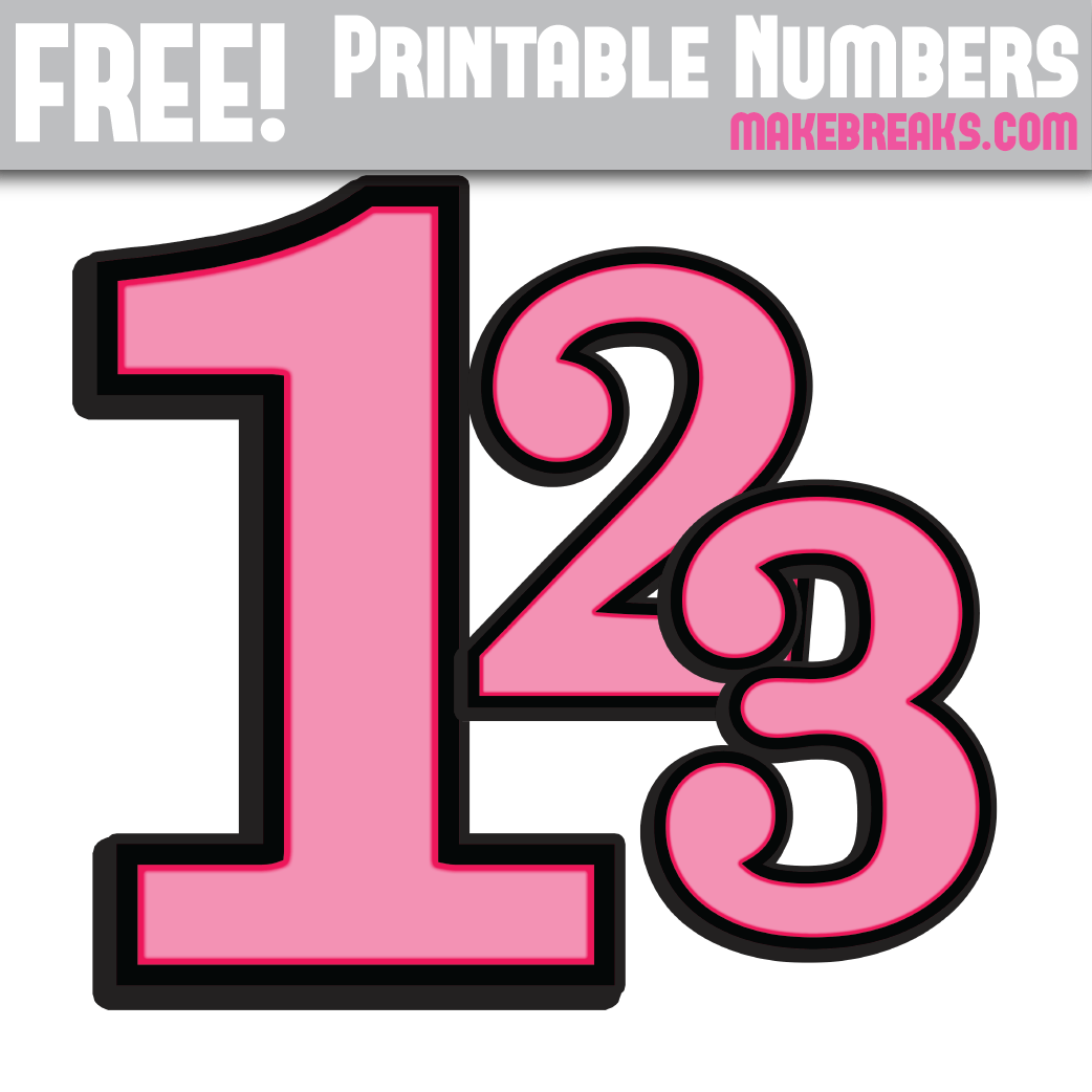 Pink With Black Edge Printable Numbers 0 – 9