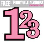 Pink With Black Edge Printable Numbers 0 – 9
