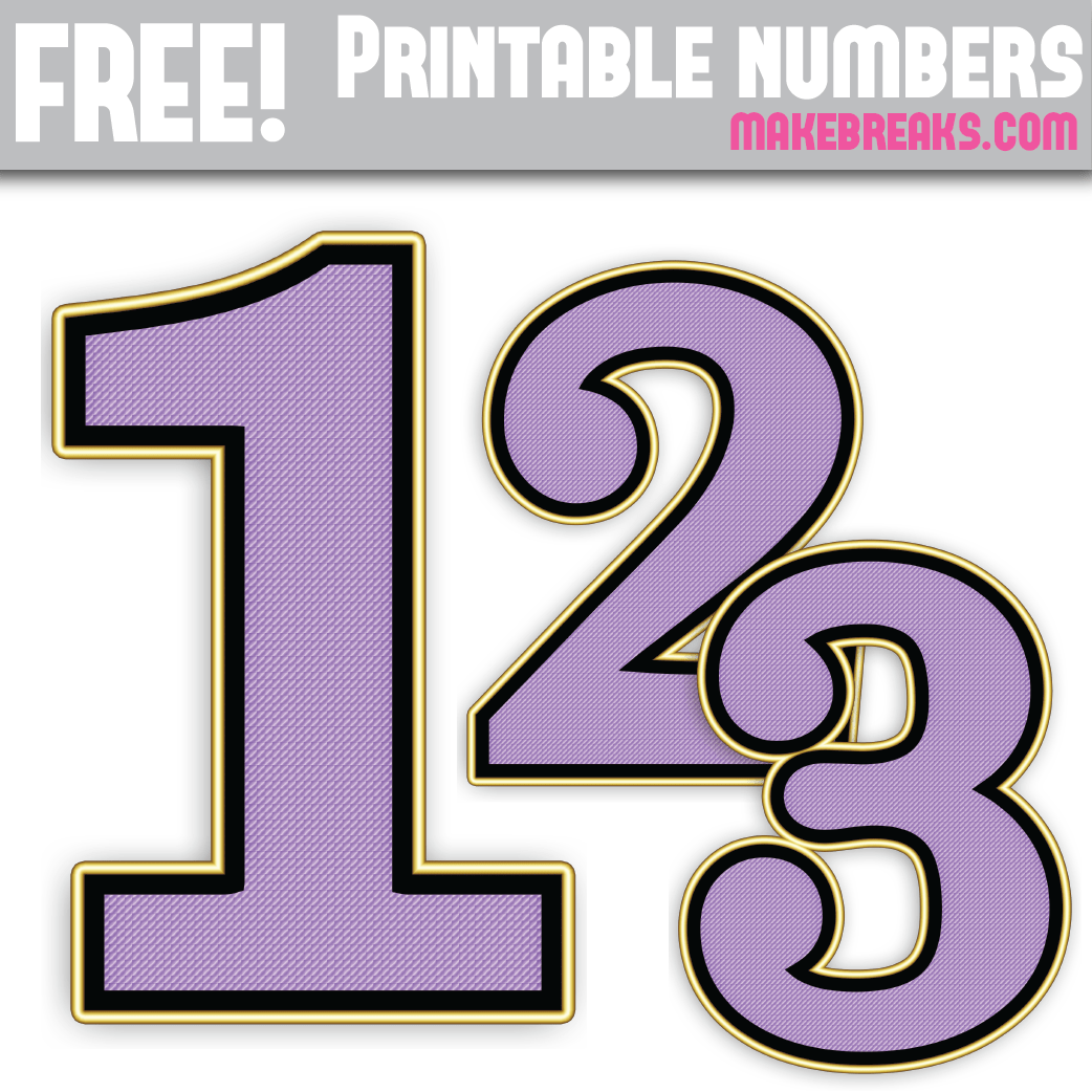 picture about Printable Numbers 0-9 titled Red Gold Edged Absolutely free Printable Quantities 0 - 9 - Produce Breaks