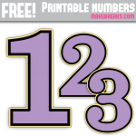 Purple Gold Edged Free Printable Numbers 0 – 9