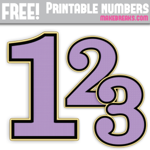 Purple Gold Edged Free Printable Numbers 0 – 9