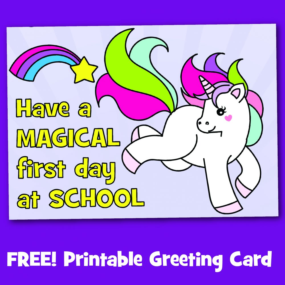 Free printable first day at school unicorn greeting card make breaks free printable first day at school unicorn greeting card m4hsunfo
