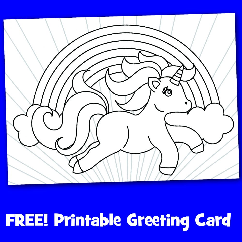 Free printable black and white magical unicorn card to color