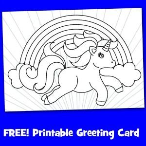 Free Printable Unicorn Greeting Card To Color
