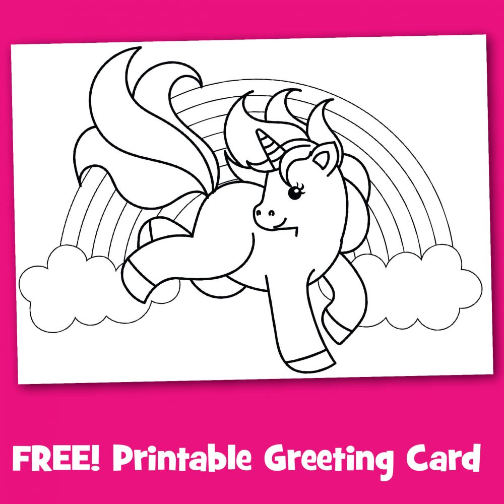 photo relating to Free Printable Unicorn Pictures called Absolutely free Printable Unicorn Greeting Card In the direction of Coloration - Crank out Breaks