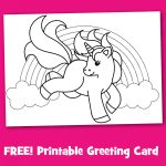 Free Printable Unicorn Greeting Card To Color