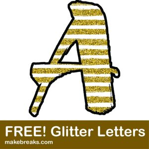 Free Gold Striped Glitter Hand Drawn Letters to Download
