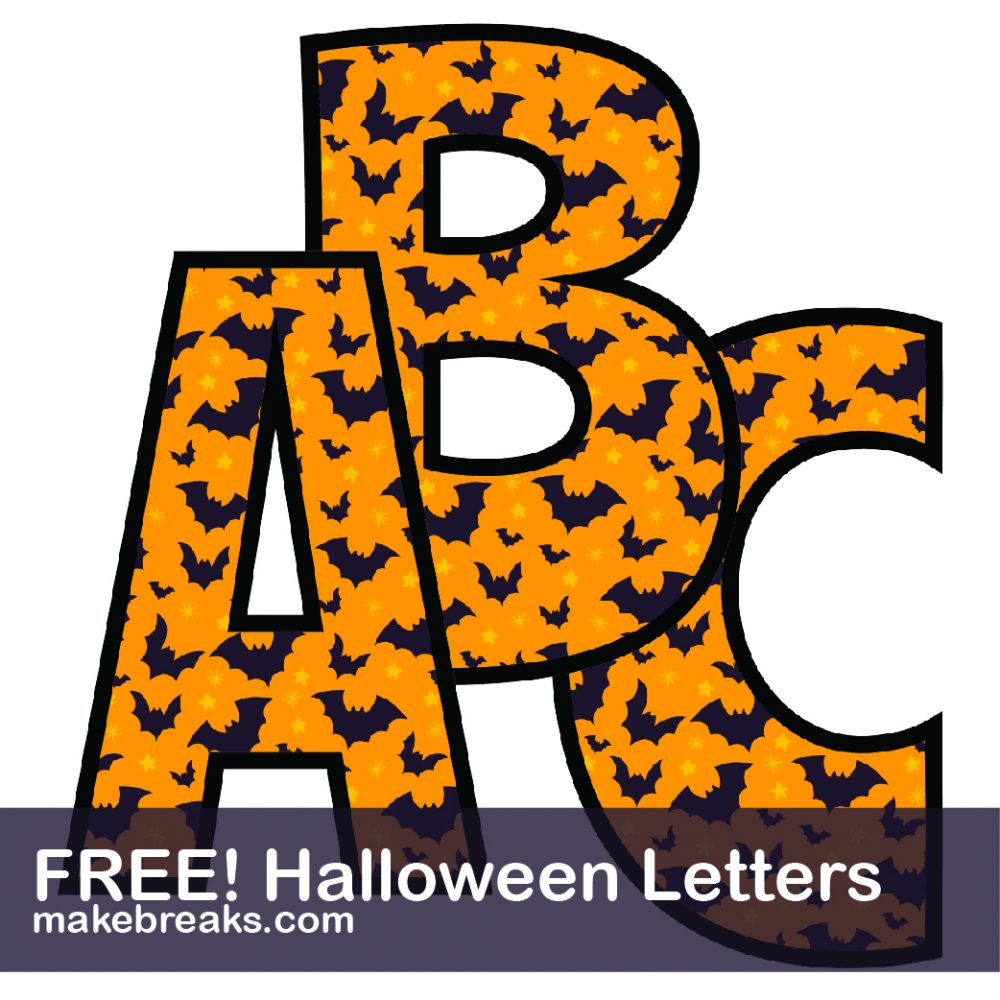 photograph relating to Free Printable Halloween known as Halloween Totally free Printable Alphabet - Deliver Breaks