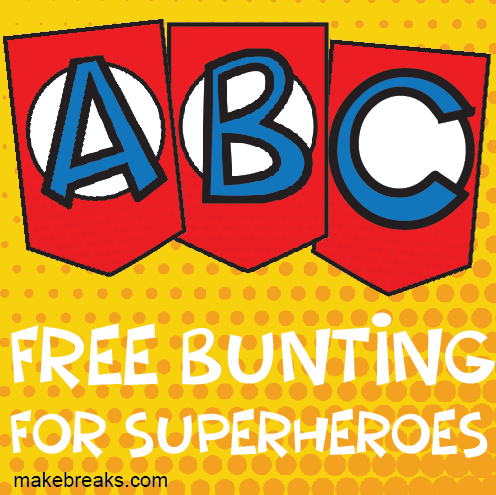 photograph regarding Superhero Letters Printable identified as Superhero Alphabet Bunting Template - Deliver Breaks