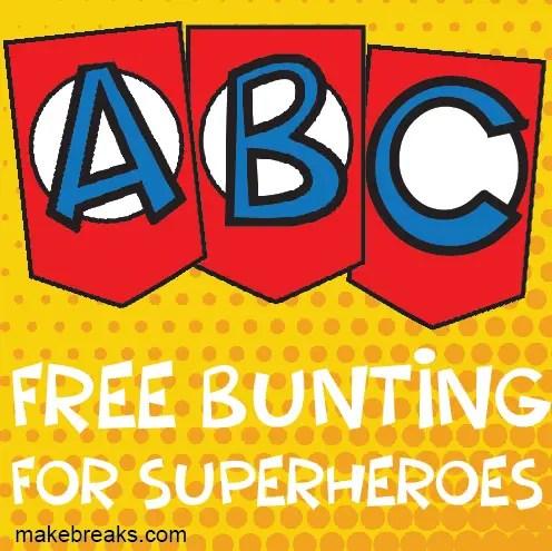 photograph regarding Superhero Letters Printable identified as Superhero Alphabet Bunting Template - Deliver Breaks