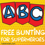 Superhero Alphabet Bunting Template