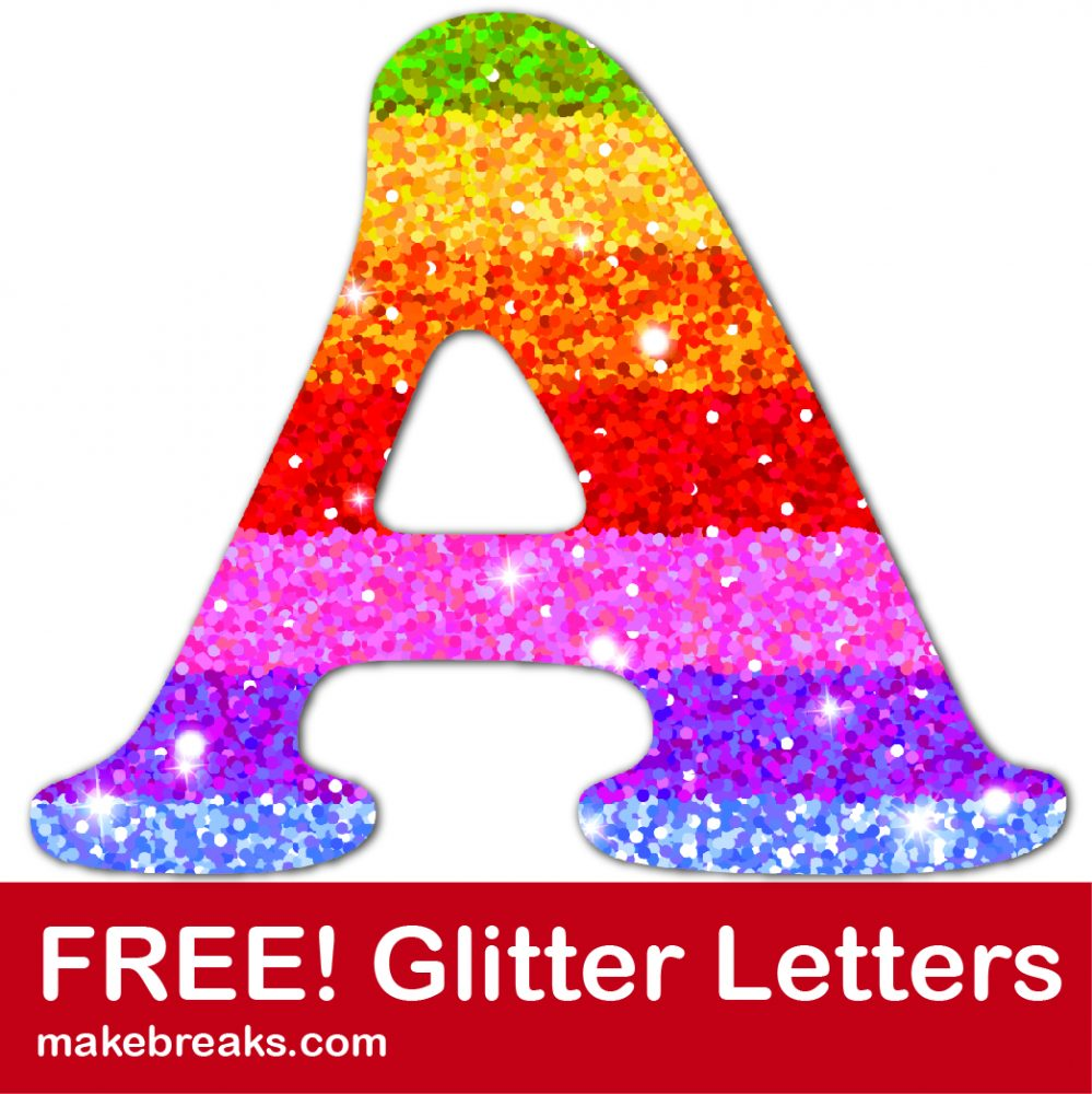 Rainbow glitter letter to download