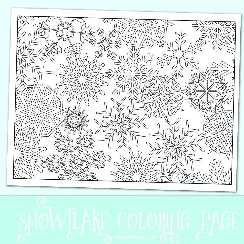 Free Snowflake Christmas Coloring Page