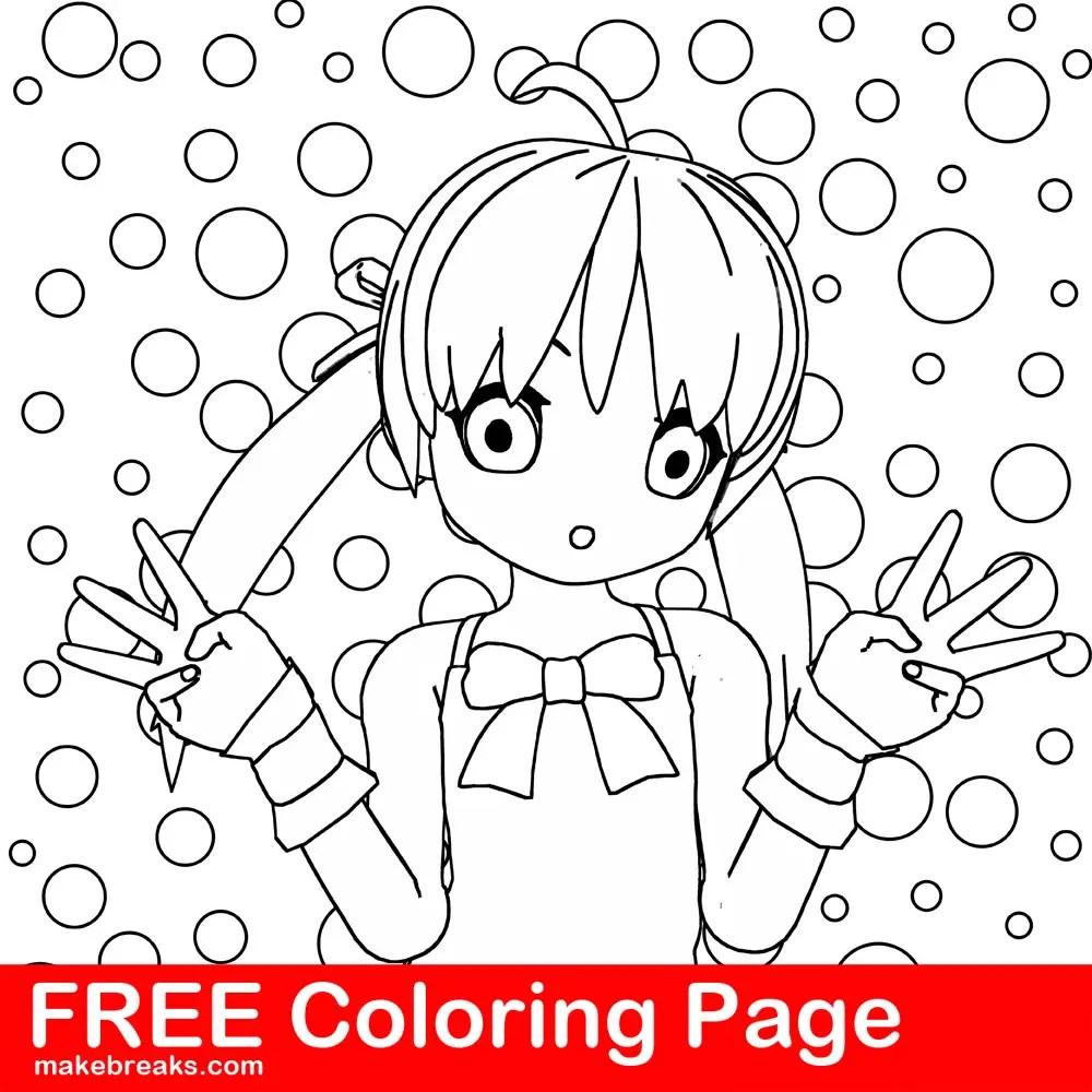 Anime manga style girl coloring page