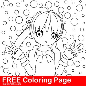 Free Coloring Page – Anime Style Girl Bubbles Background