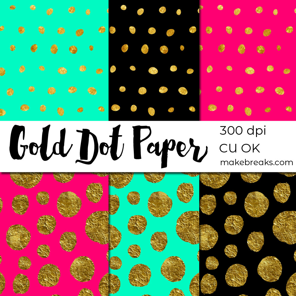 FREE Gold Foil Dot Digital Paper Download