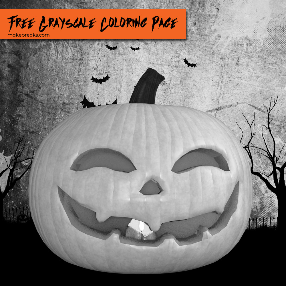 Free grayscale coloring page featuring a carved pumpkin jack o lantern