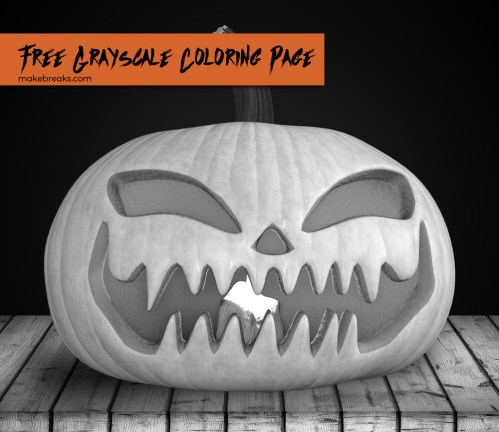 Jack O Lantern Grayscale Coloring Page