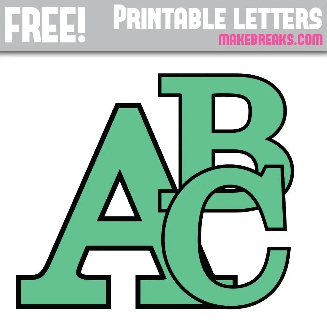 Teal With Black Edge Free Printable Alphabet