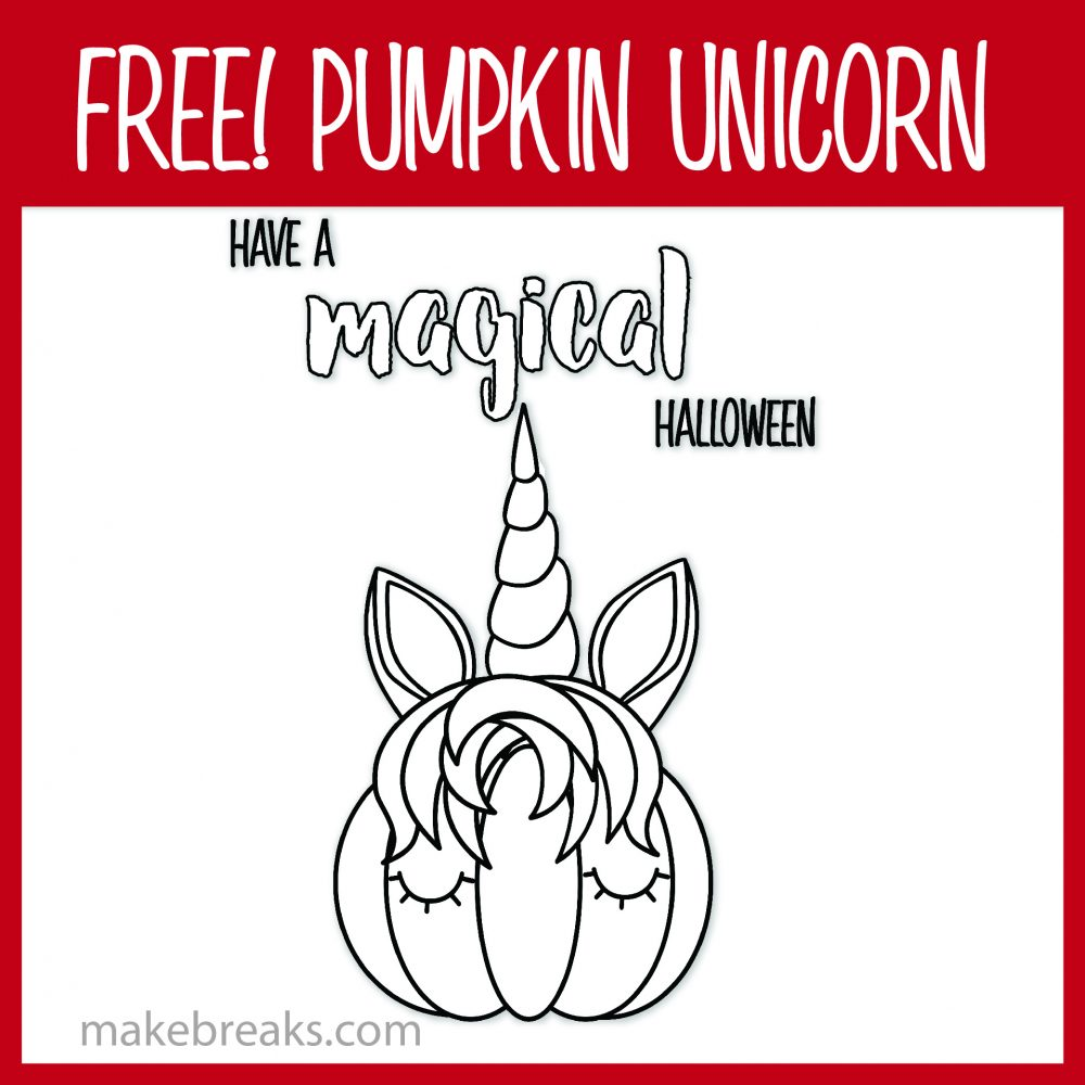 Free Pumpkin Unicorn Magical Coloring Page