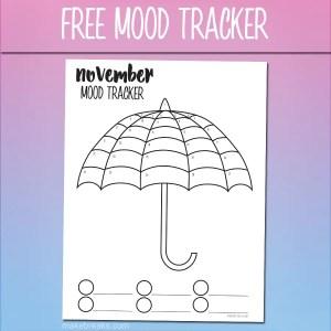 Free November Mood Tracker Tracking Page – Umbrella