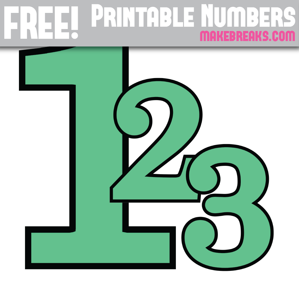 Teal With Black Edge Printable Numbers 0 – 9