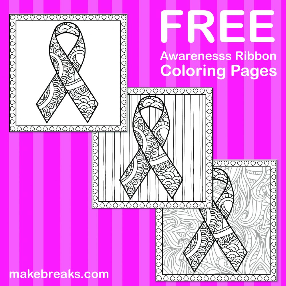 Free Awareness Ribbon Coloring Pages - Make Breaks