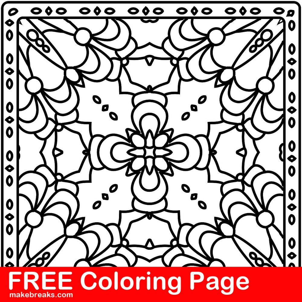 Free Coloring Page – Pattern Tile 1