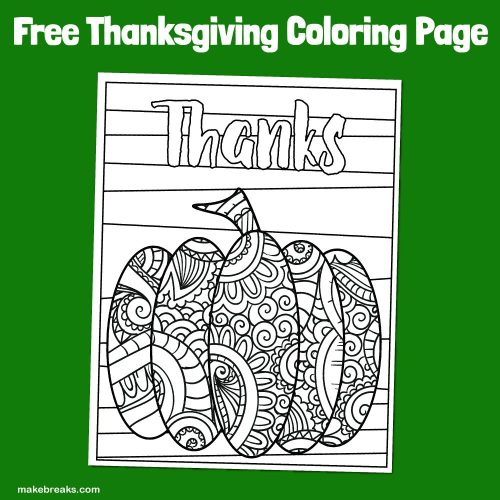 Free pumpkin thanks coloring page for Thanksgiving