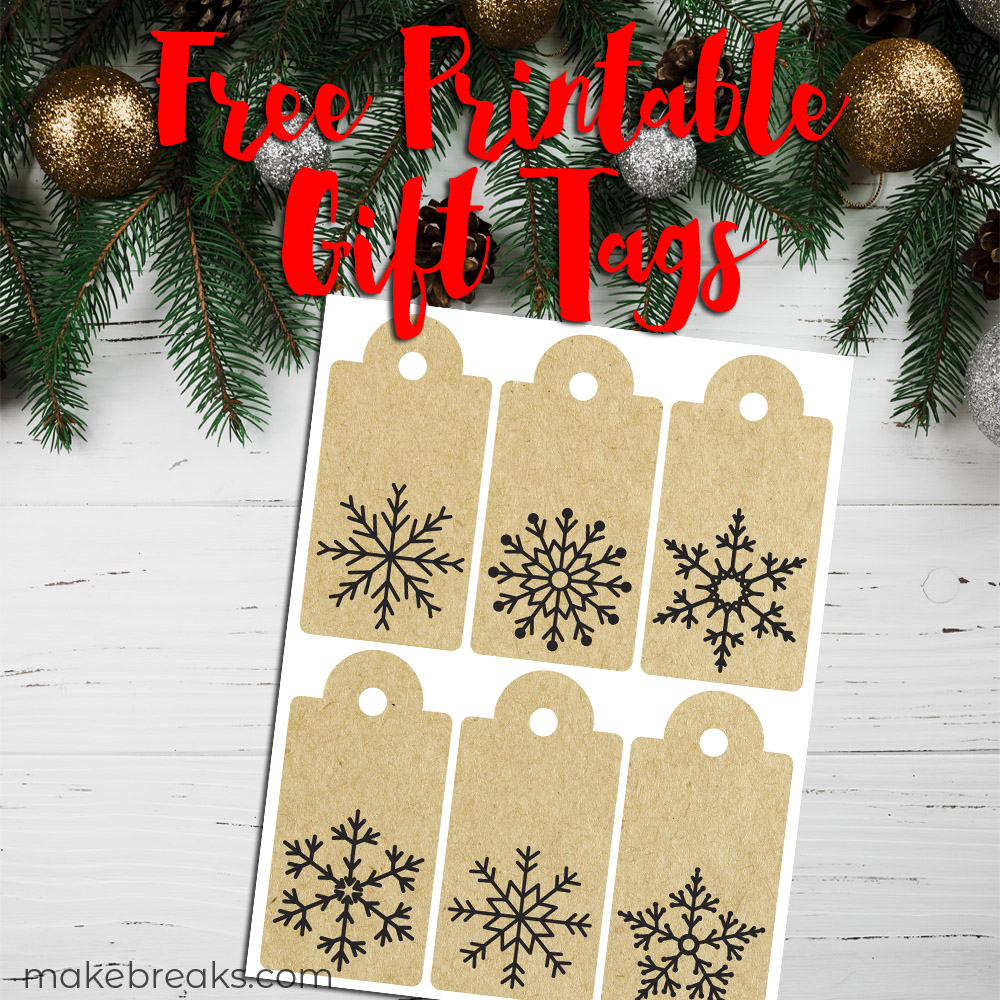 graphic about Printable Kraft Tags called Snowflake Kraft Paper No cost Printable Present Tags - Create Breaks