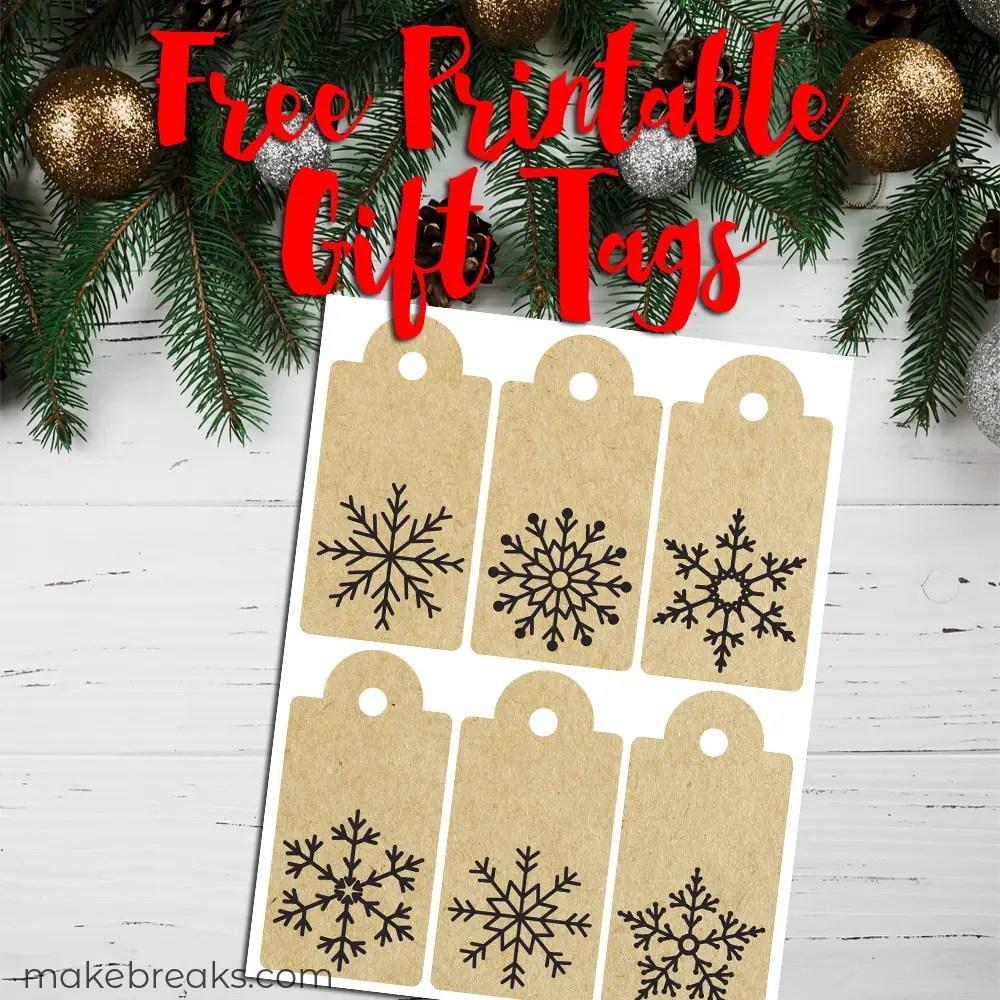 Snowflake Kraft Paper Free Printable Gift Tags