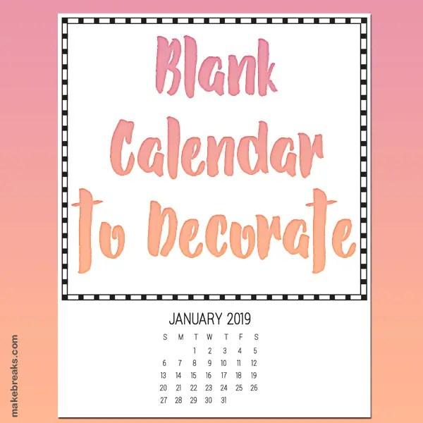 Plain 2019 Calendar to Decorate
