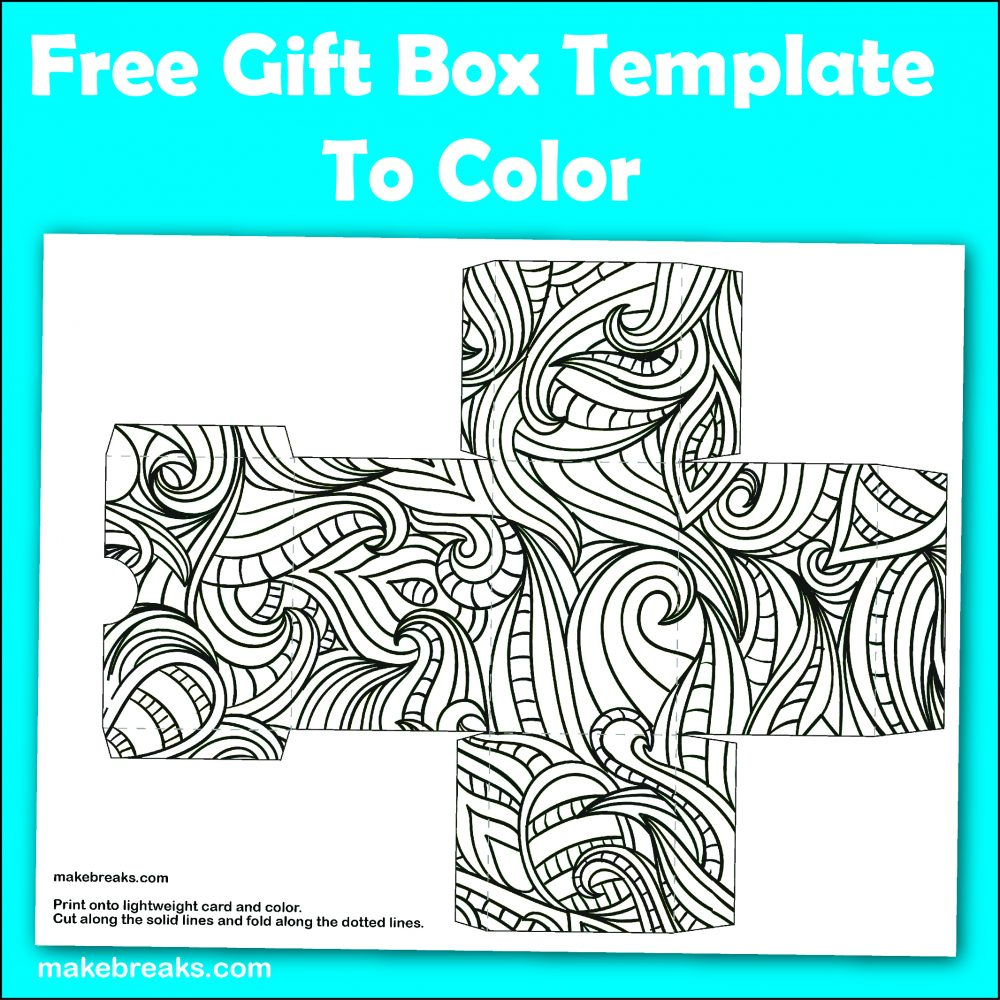 Free Gift Box Box Template To Color